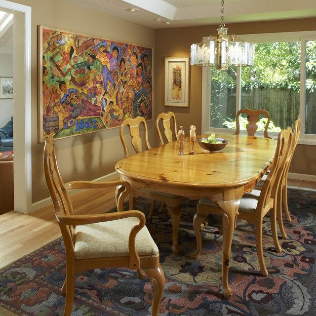 Sherwin Williams Wallpaper Dining Room Traditional with Accent Wall Area Rug