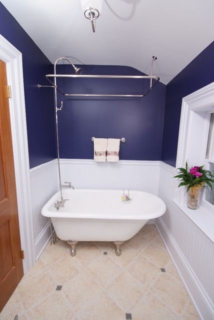 Shoehorn Bathroom Traditional with Beadboard Blue Claw Foot
