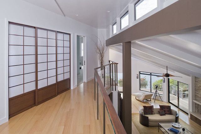 Shoji Screens Hall Contemporary with Balcony Ceiling Fan Ceiling