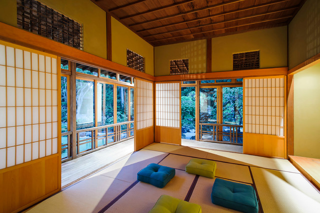 Shoji Screens Porch Asian with Blue Flat Woven Carpet