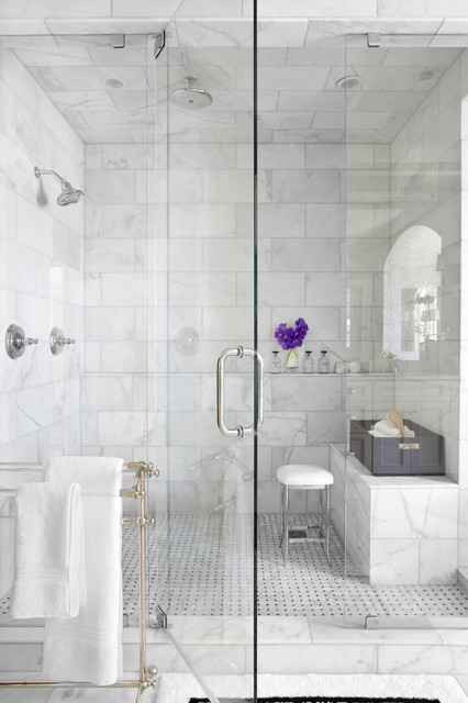shower squeegee Bathroom Traditional with glass shower door marble