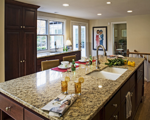 Silestone vs Granite Kitchen Traditional with Breakfast Bar Ceiling Lighting