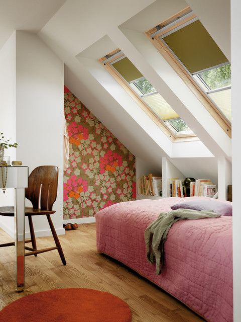 skylight shades Bedroom Contemporary with attic bedroom blackout built-in