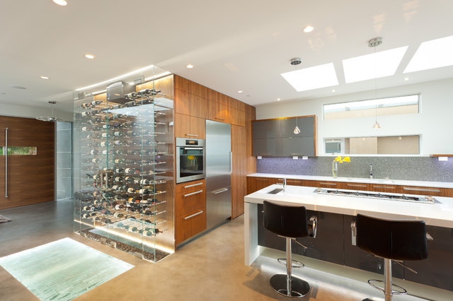slate refrigerator Kitchen Contemporary with ardex backsplash black walnut