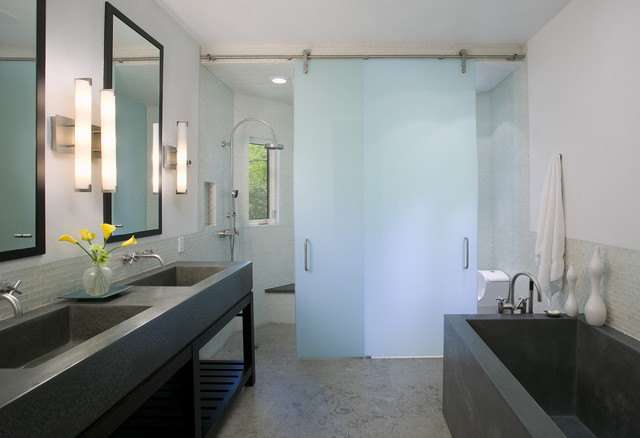 Sliding Glass Door Blinds Bathroom Contemporary with Bathroom Concrete Bath Concrete