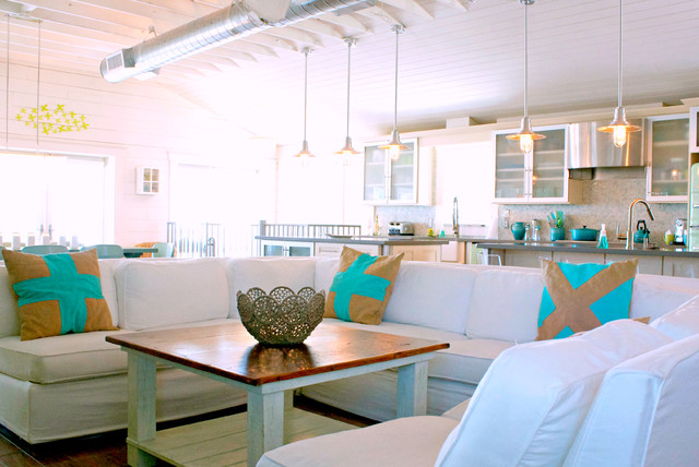 Slipcovered Sectional Living Room Beach with My Houzz