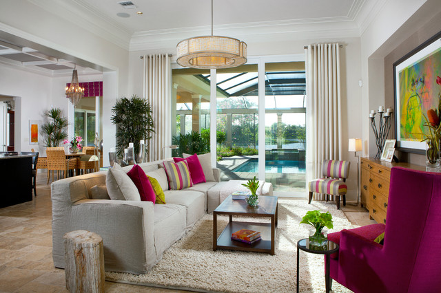 Slipcovered Sectional Living Room Contemporary with Area Rug Artwork Colorful