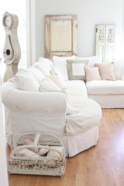 slipcovered sectional Living Room Shabby-chic with basket flea sofa French