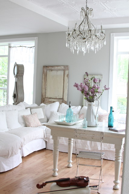 Slipcovered Sofas Living Room Shabby Chic with Bistro Chair Bottles Chandelier