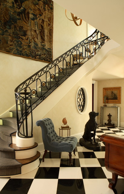 slipper chair Entry Traditional with accent chair banister black