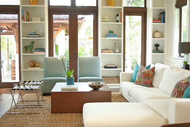 Slipper Chair Living Room Contemporary with Aqua Built in Bookshelves Coffee