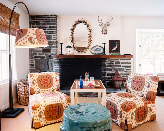 Slipper Chairs Living Room Shabby Chic with Antlers Arc Lamp Colorful