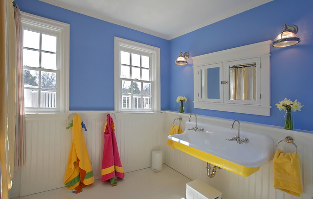 Slop Sink Bathroom Traditional with Beadboard Wainscoting Blue Walls