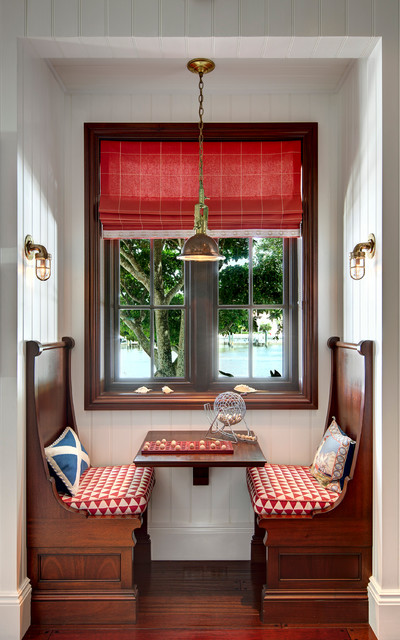 Small Dinette Sets Dining Room Beach with Banquette Seating Beadboard Walls