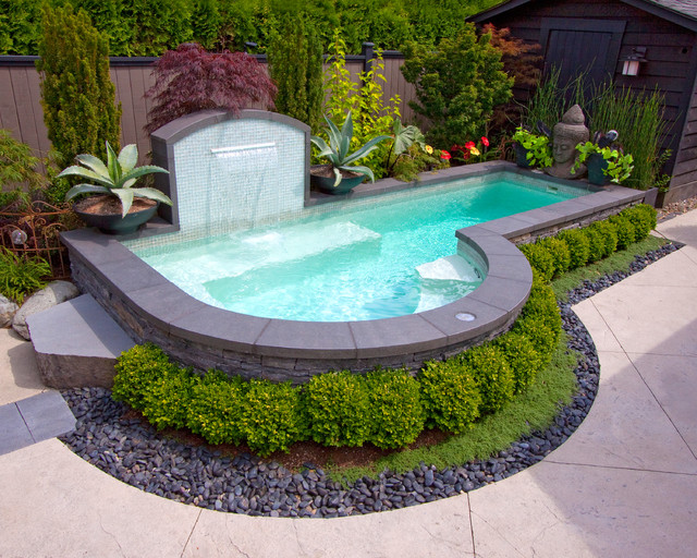 small inground pools Pool Eclectic with alka pool backyard entertainment