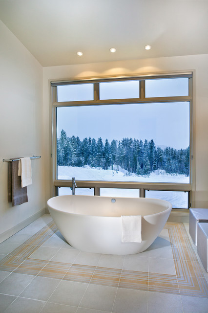 Soaker Tub Bathroom Contemporary with Bathroom Tile Carrelage Salle