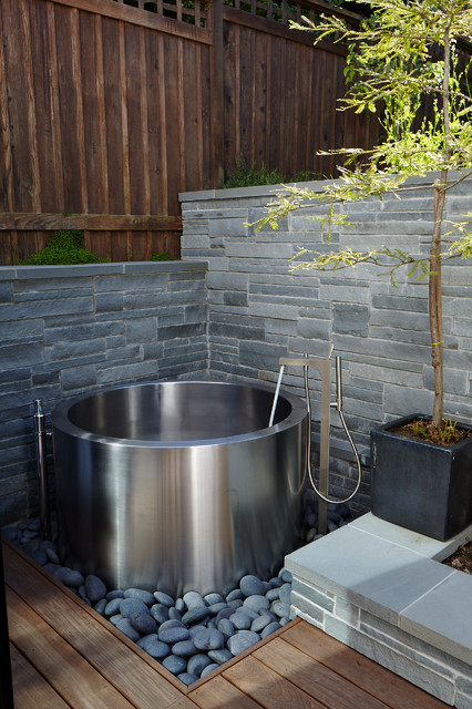 soaking tubs Landscape Contemporary with black planter box Bluestone