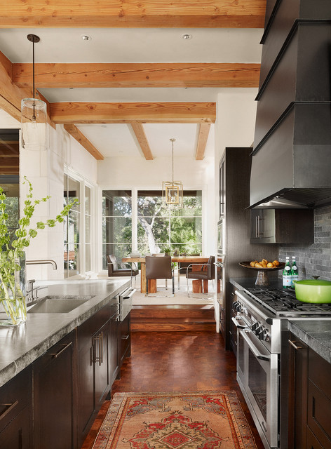 soapstone countertops Kitchen Contemporary with dark wood cabinets exposed