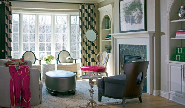Spotlight Floor Lamp Living Room with Black and Gold Drapery