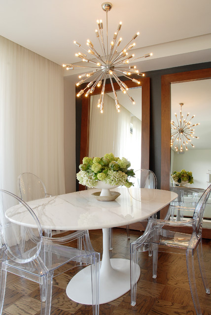 sputnik chandelier Dining Room Transitional with accent wall acrylic chairs