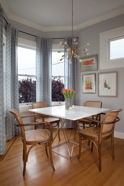 Sputnik Light Dining Room Transitional with Bay Window Blue Curtains