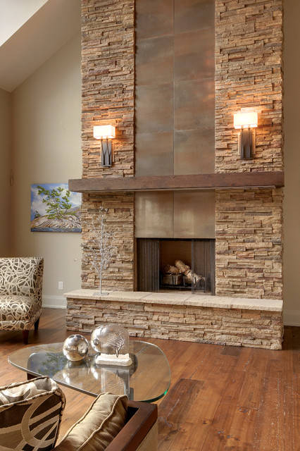 Stacked Stone Fireplace Living Room Contemporary with Alta Modern Chalet Beige