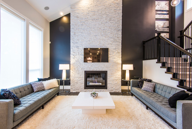 Stacked Stone Fireplace Living Room Contemporary with Black Wall Carpeted Stair