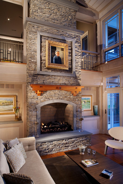 stacked stone fireplace Living Room Traditional with Fireplace gilded frame glass