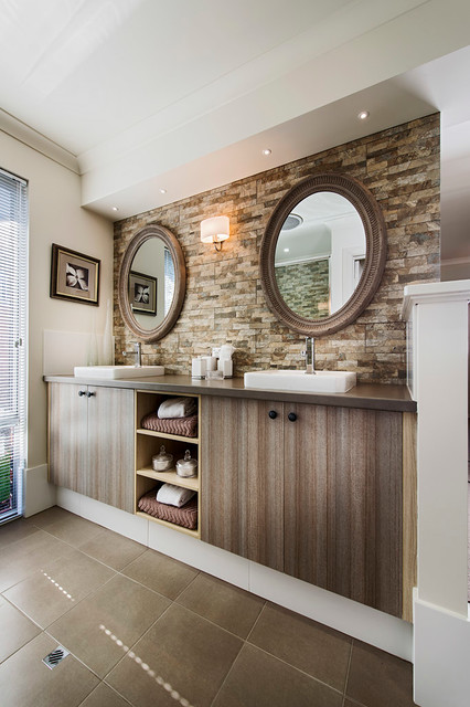 stacked stone veneer Bathroom Contemporary with above counter sink blinds