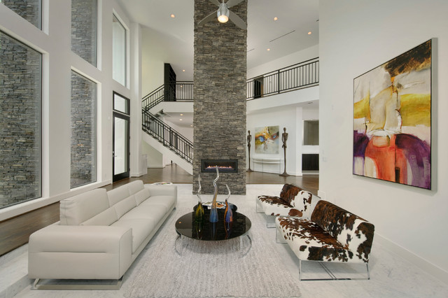 Stacked Stone Veneer Living Room Contemporary with Accent Ceiling Fan Gray