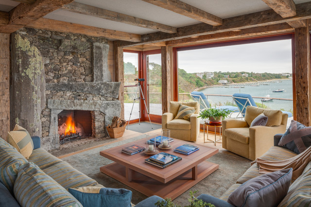 Stacked Stone Veneer Living Room Rustic with Area Rug Drift Wood