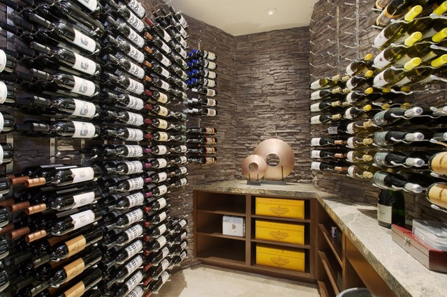 Stacked Stone Veneer Wine Cellar Contemporary with Climate Controlled Contemporary Lateral
