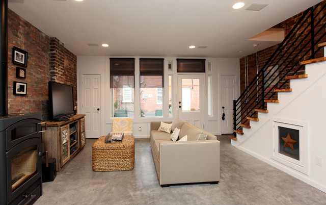 stained concrete floors Living Room Rustic with brick concrete floor entry