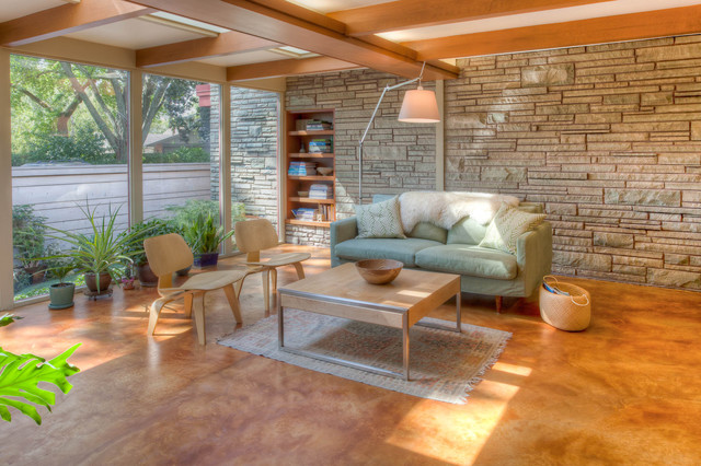 Staining Concrete Floors Family Room Midcentury with Basket Built in Shelves Ceiling