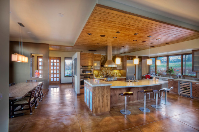 staining concrete floors Kitchen Contemporary with accent ceiling Acid Stained