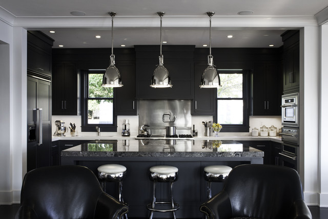 Stainless Steel Mixing Bowls Kitchen Transitional with Black Black Cabinets Breakfast