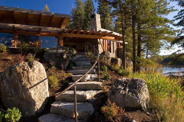 Stair Handrail Landscape Contemporary with Boulders Chimney Post And