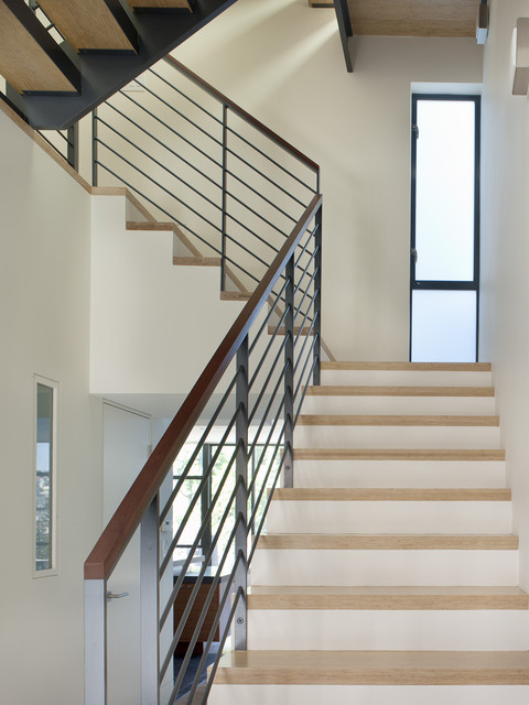 Stair Handrail Staircase Modern with Casement Windows Curved Staircase