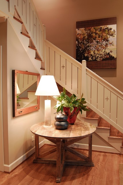 Stair Railings Staircase Rustic with Banister Baseboards Entry Table