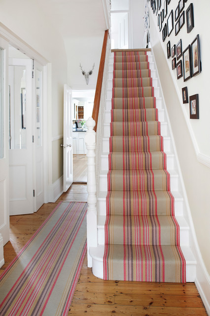 Stair Runner Staircase Contemporary with Black White Photos Entrance