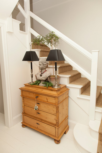 stair runners Staircase Traditional with antique dresser beige carpeted