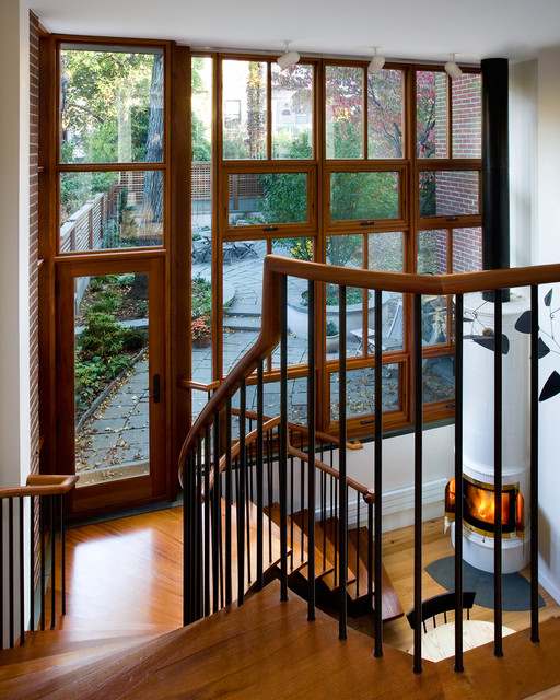 stair spindles Staircase Contemporary with accent lighting addition brick