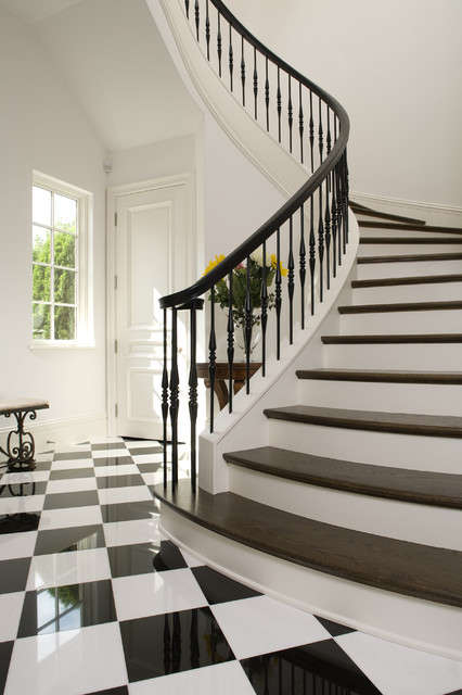Stair Spindles Staircase Mediterranean with Banister Black Checkerboard Floor