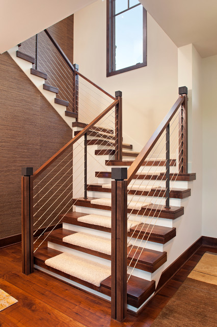 Stair Treads Carpet Staircase Contemporary with Cable Rail Carpet Treads