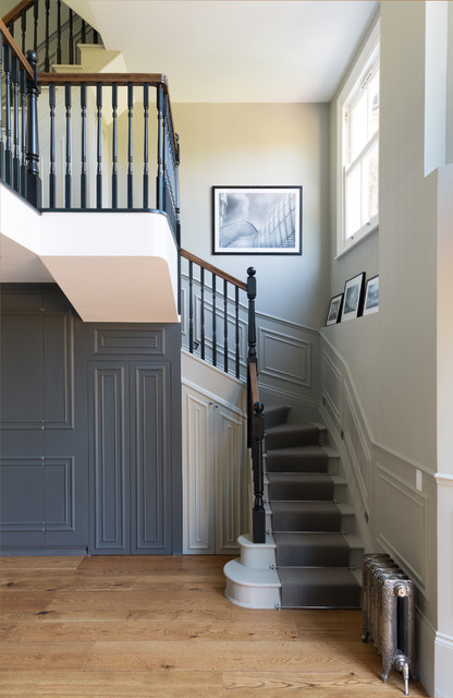 Stair Treads Carpet Staircase Victorian with Banister Dark Gray Hall