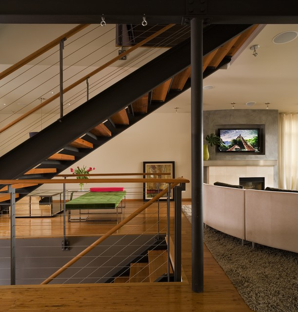 Staircase Railing Living Room Contemporary with Bamboo Floor Bamboo Flooring