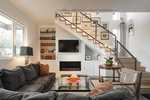 Staircase Railing Living Room Contemporary with Bookcase Gated Railing L1