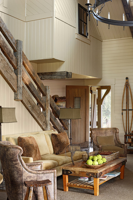 staircase railing Living Room Rustic with area rug earth tone