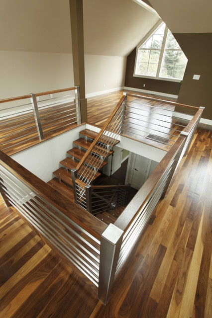 Staircase Railing Staircase Contemporary with Brown Accent Wall Stainless1