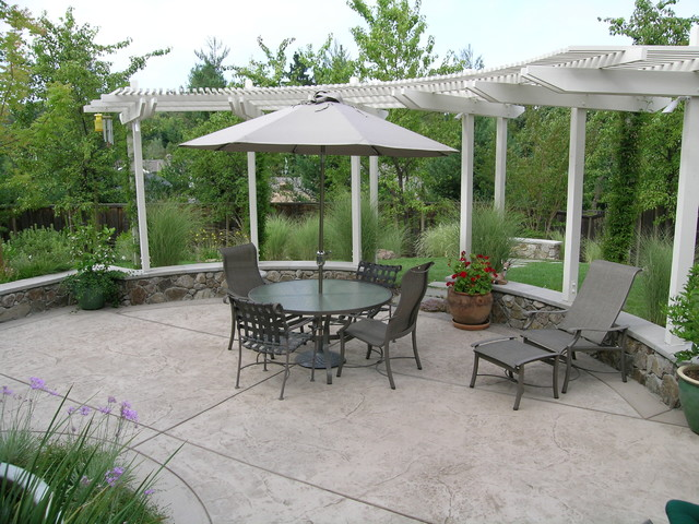 Stamped Concrete Patio Patio Traditional with Arbor Chaise Lounge Concrete